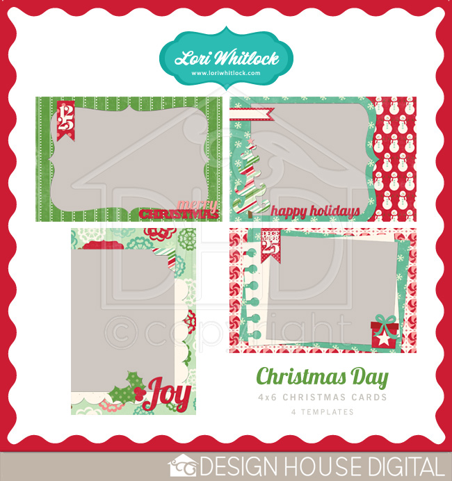 This 4×6 Christmas Card Template Set is FREE this weekend. Go pick it ...: www.loriwhitlock.com/blog/digital-scrapbooking
