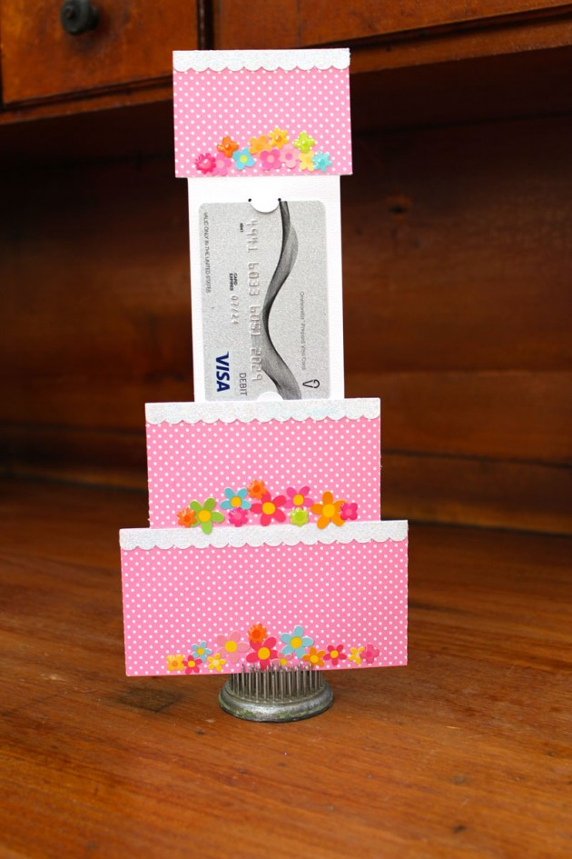 5 u00d77 tiered cake gift card holder tutorial with kathy