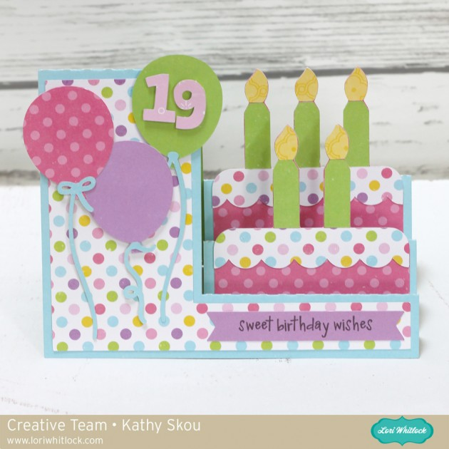 My Happy Whitlock: Place: Lori Whitlock: Happy Side Step Card Birthday Cake a3838b